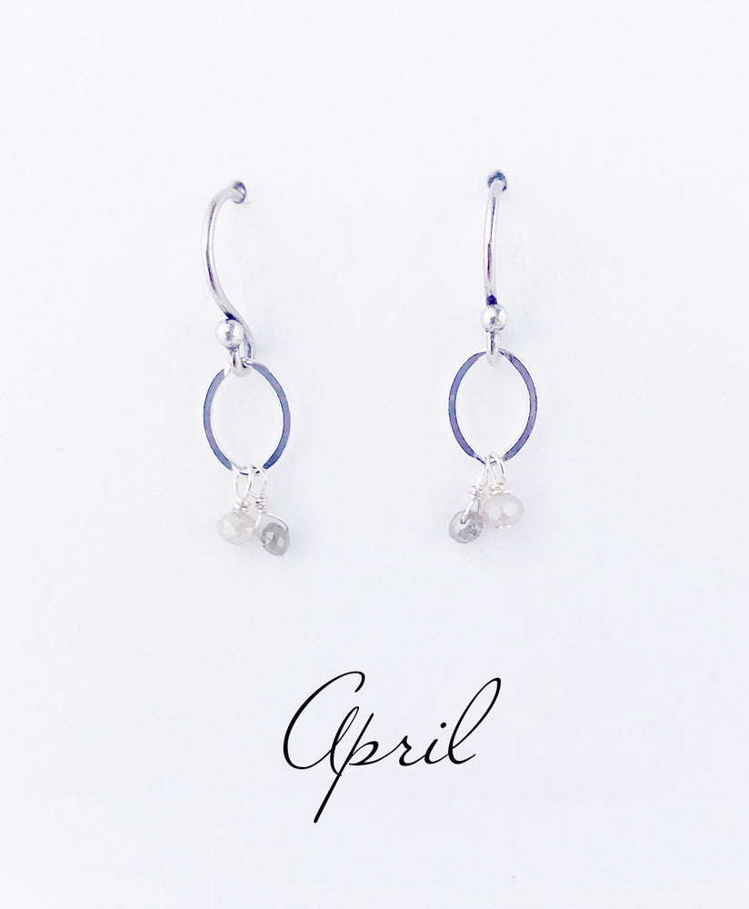 Silver April Birthstone Earrings