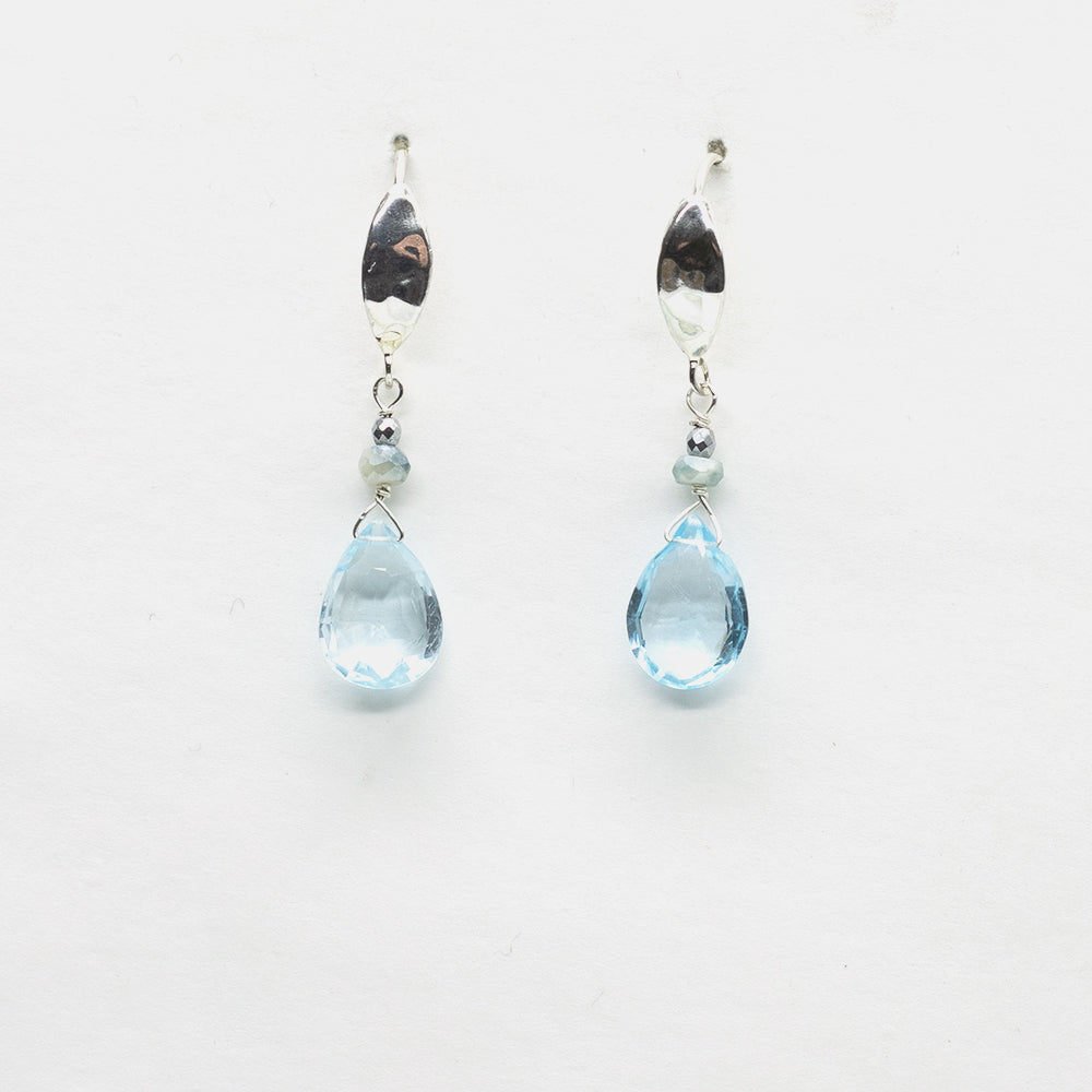 Load image into Gallery viewer, Aquamarine Hammered Hook Earrings