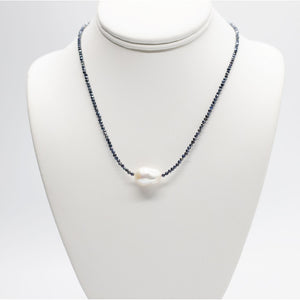 Baroque Pearl Necklace with Sapphire