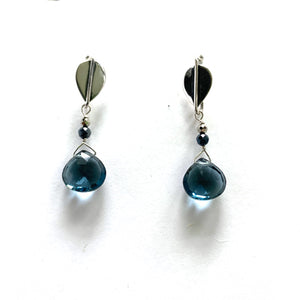 Blue Quartz Leaf Droplet Earrings