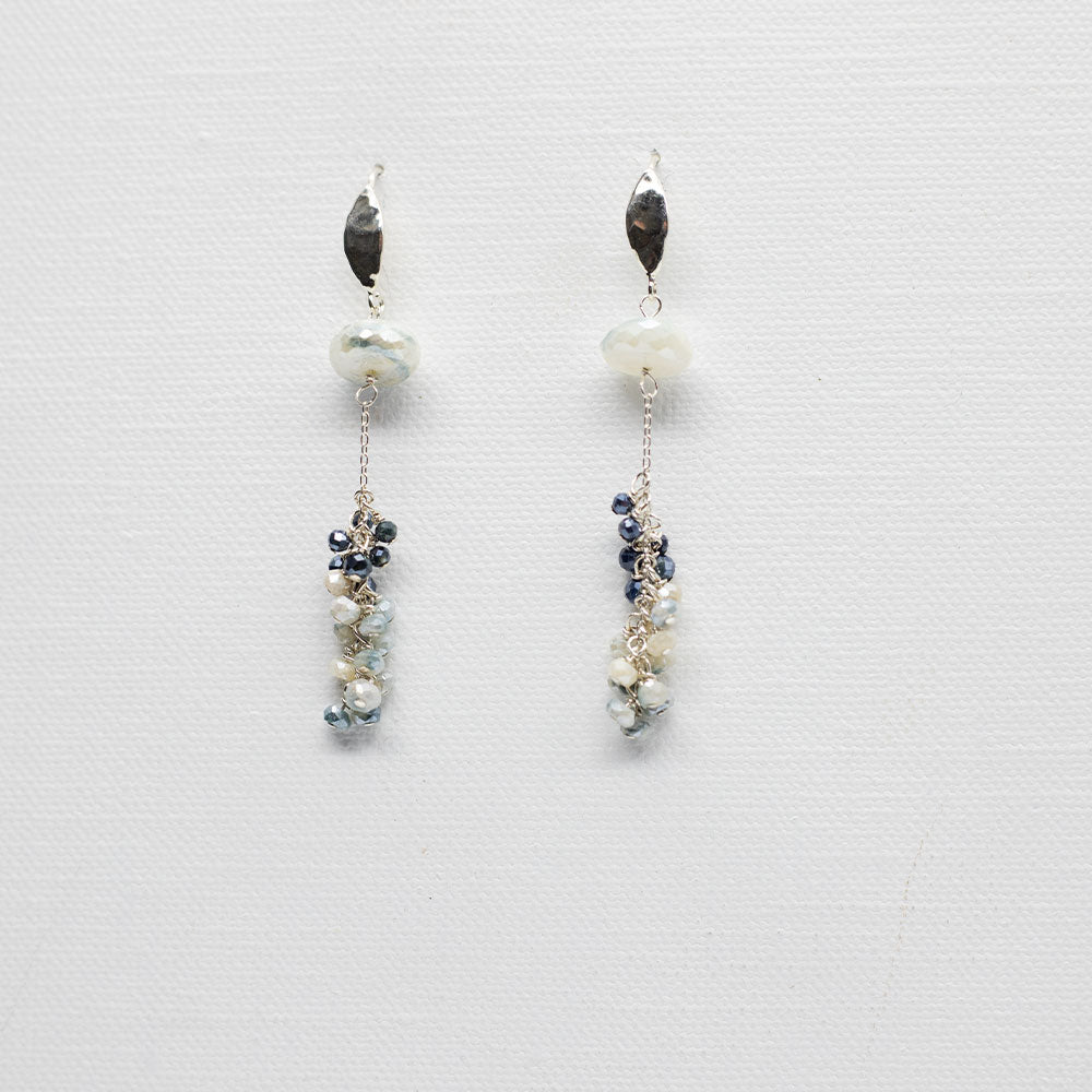 Blue Moonstone Tassel Earrings