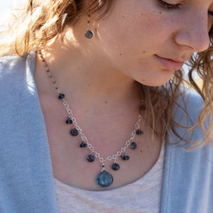 Load image into Gallery viewer, Blue Quartz Charm Necklace
