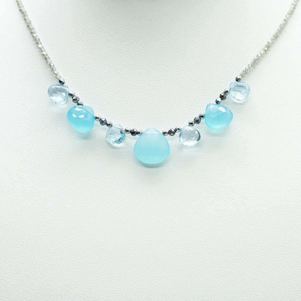 Load image into Gallery viewer, Aquamarine & Chalcedony Quarter Ruffle Necklace
