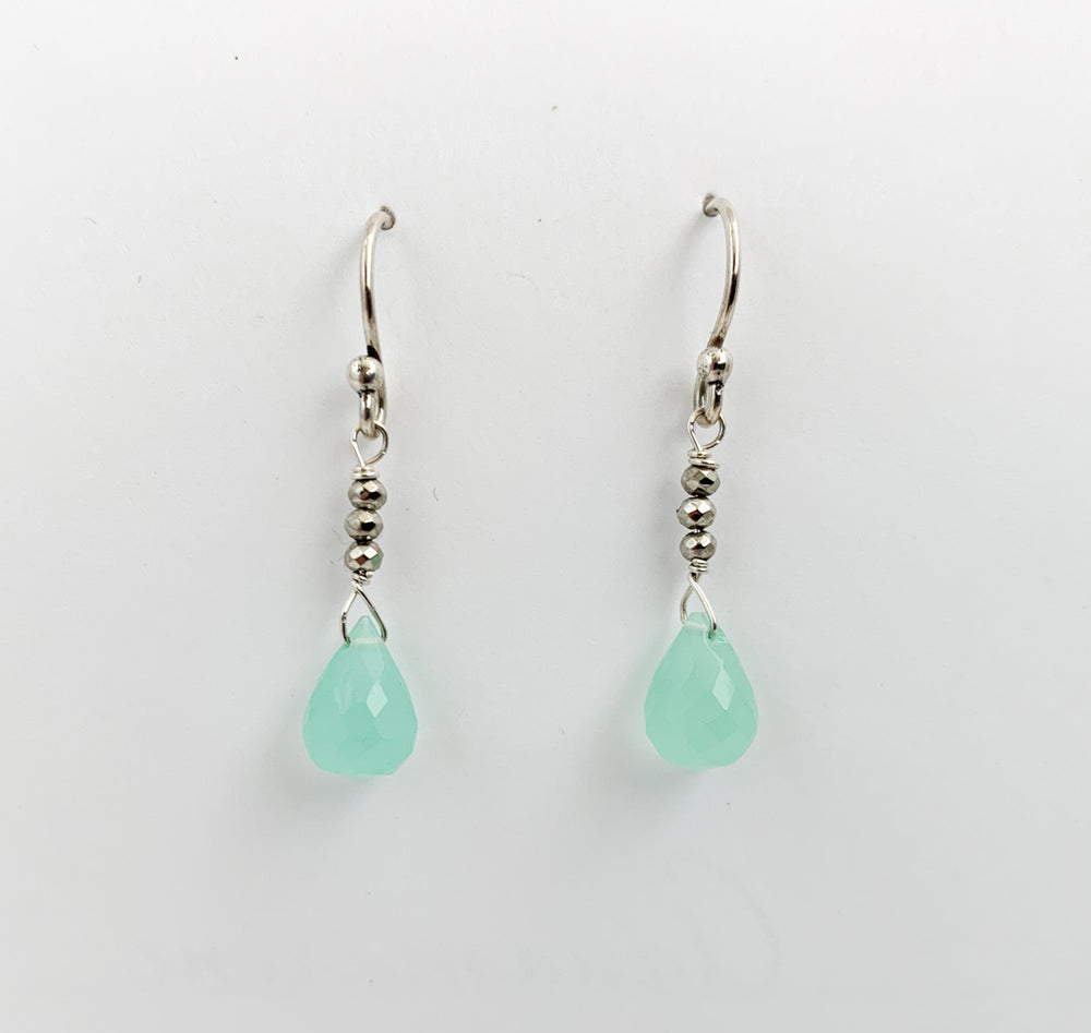 Load image into Gallery viewer, Chalcedony Raindrop Earrings