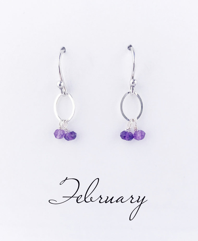 Silver February Birthstone Earrings