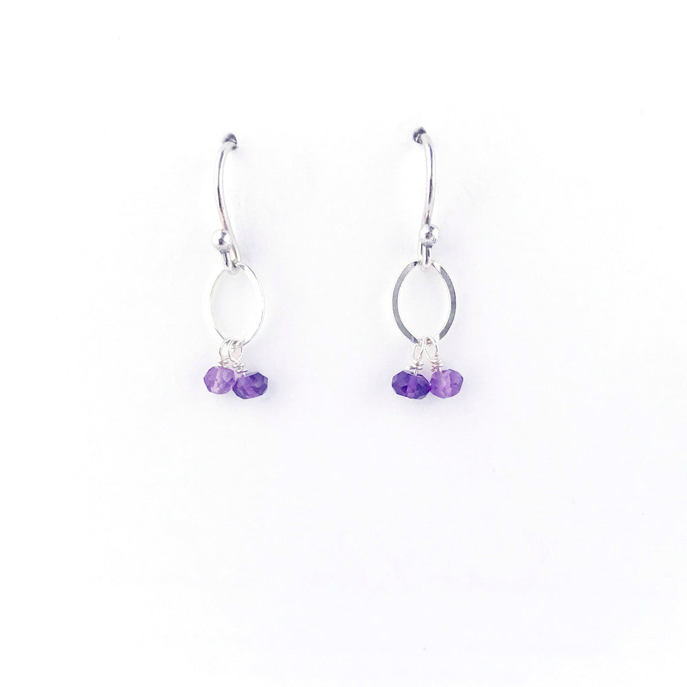 February Silver Birthstone Earrings
