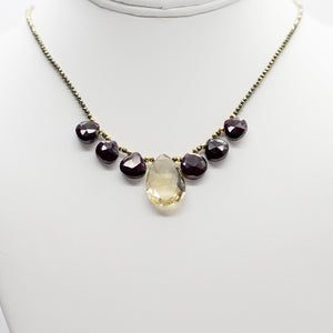 Lemon Quartz & Garnet Quarter Ruffle Necklace