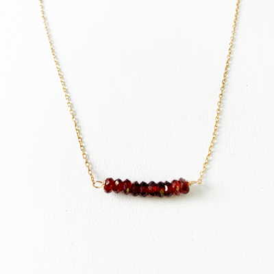 Load image into Gallery viewer, Garnet Bar Necklace