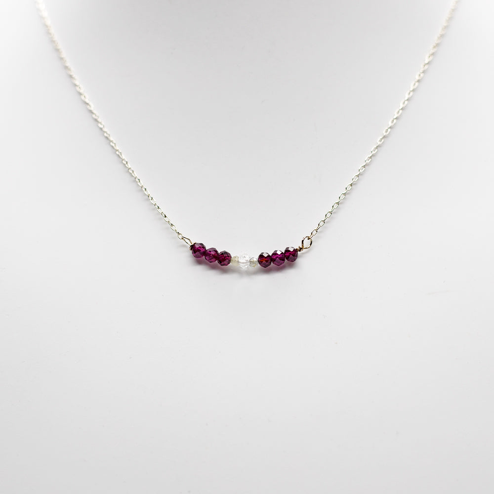Load image into Gallery viewer, Garnet & Herkimer Bar Necklace