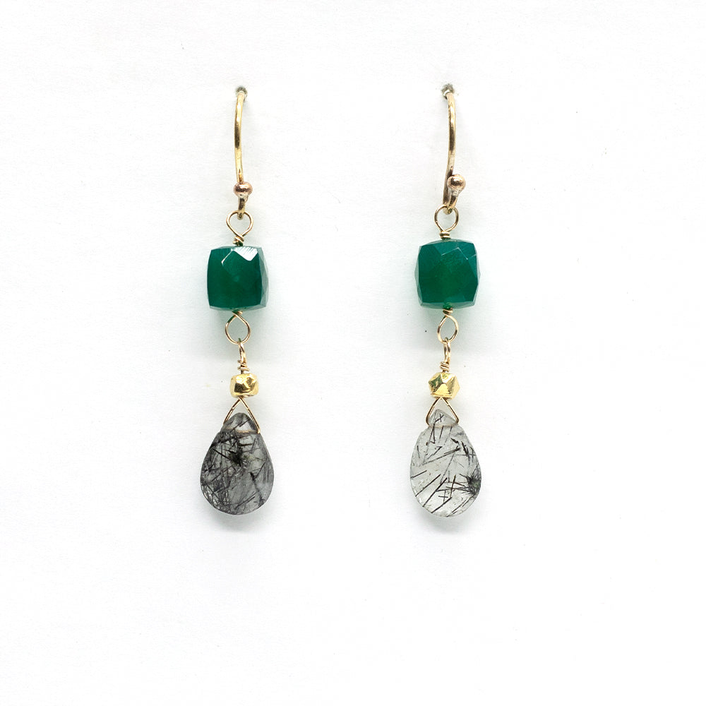 Load image into Gallery viewer, Green Onyx & Rutilated Quartz Earrings