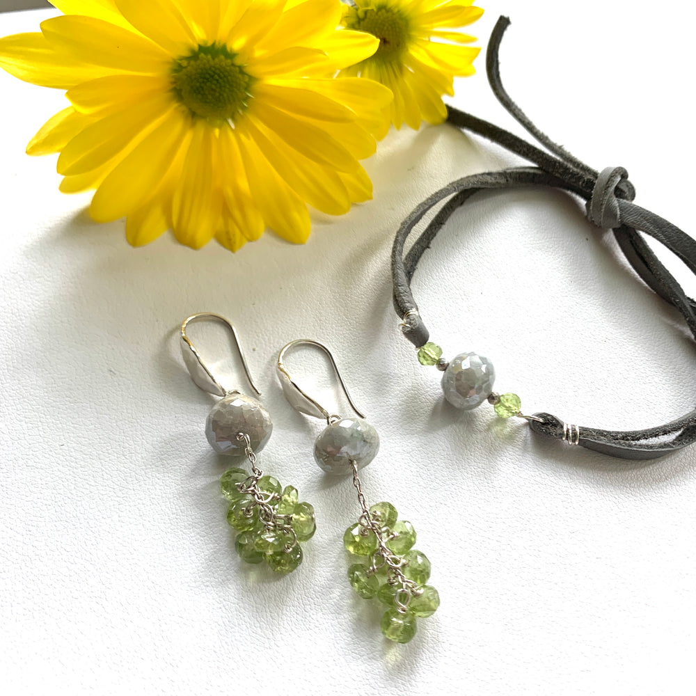 Silverite & Peridot Tassel Earrings