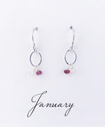 Silver January Birthstone Earring