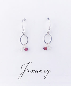 Load image into Gallery viewer, Silver January Birthstone Earrings