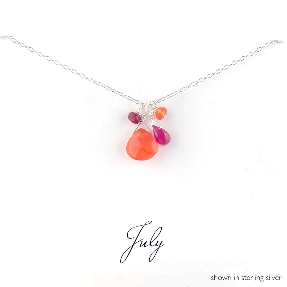 July Silver Birthstone Necklace