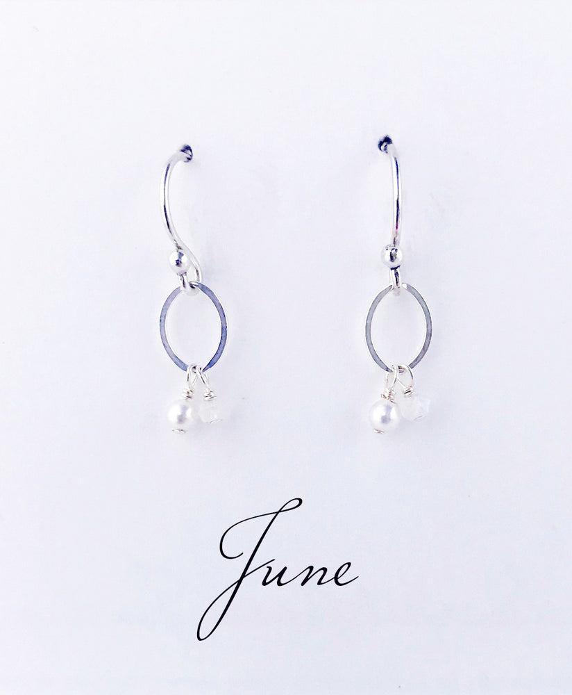 Silver June Birthstone Earring