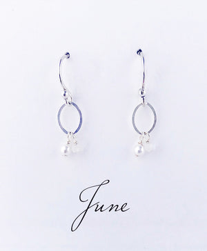 Load image into Gallery viewer, Silver June Birthstone Earrings