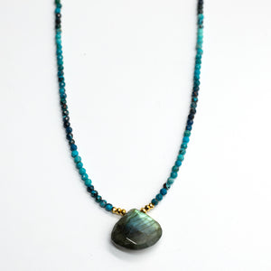 Labradorite and Chrysoprase Heart Necklace
