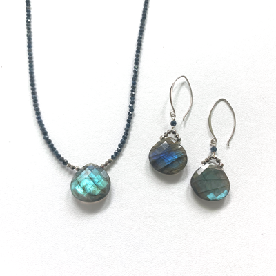 Large Labradorite Droplet Earrings