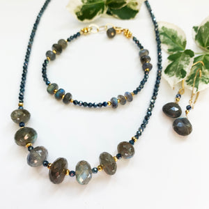 Load image into Gallery viewer, Leilia Labradorite and Sapphire Necklace