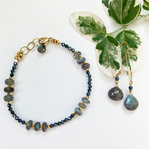 Load image into Gallery viewer, Labradorite and Sapphire Iris Strand Bracelet