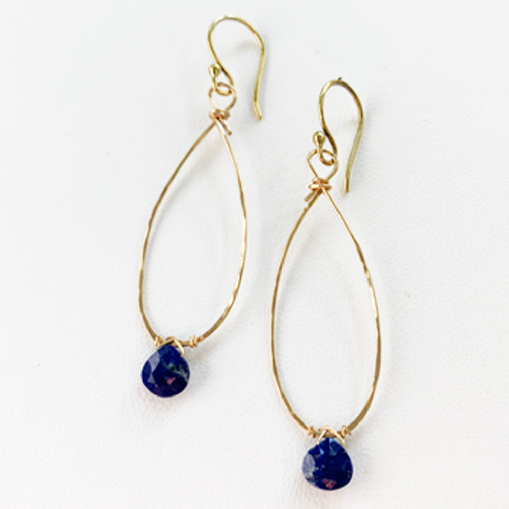 Load image into Gallery viewer, Lapis Gold Liden Earring
