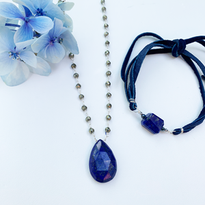 XL Lapis Waterfall Necklace and Lapis Suede Bracelet