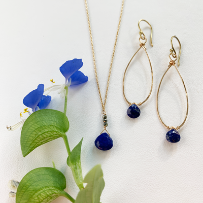 Lapis Gold Linden Earring and Raindrop Lapis Necklace
