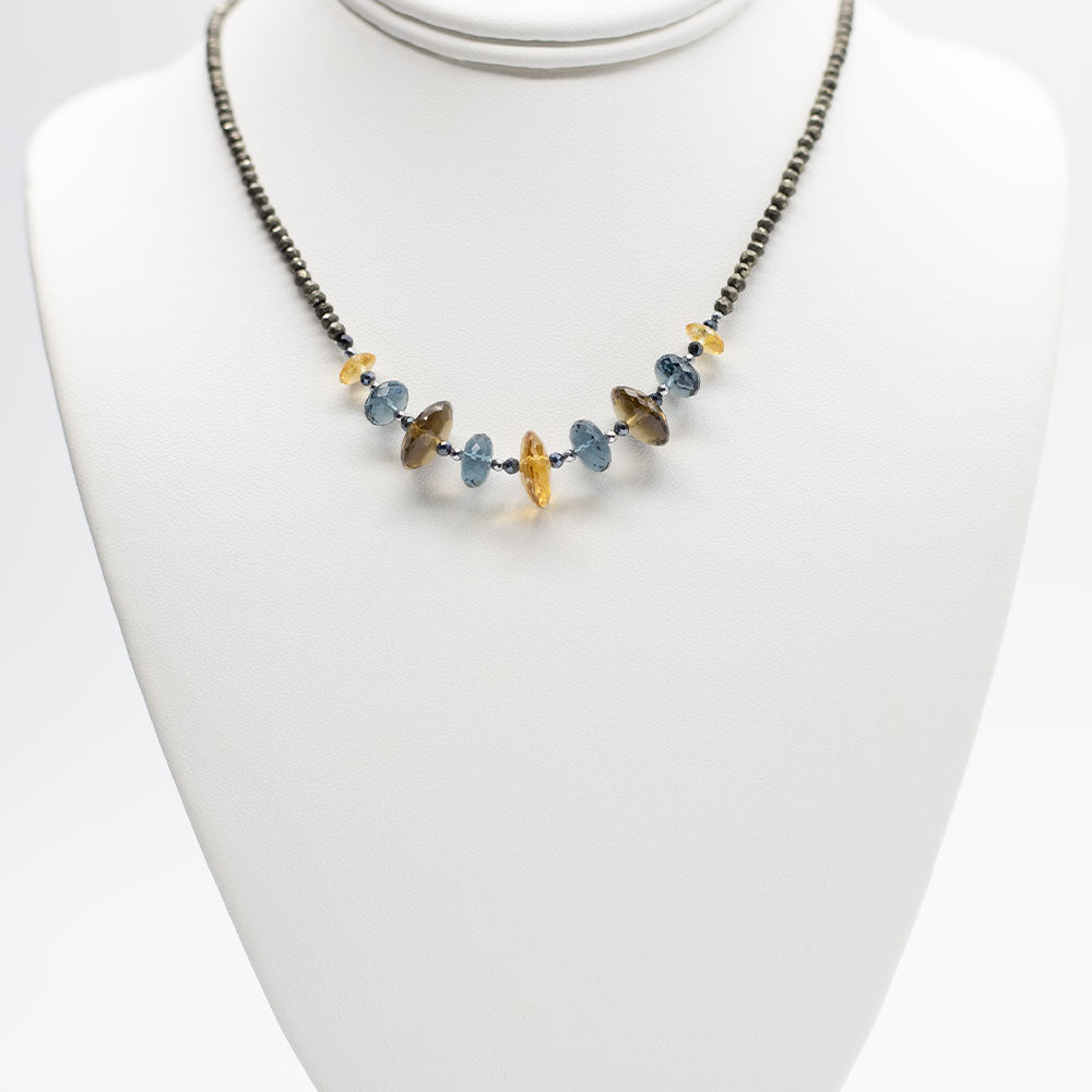Load image into Gallery viewer, Leilia Blue Quartz & Citrine Necklace