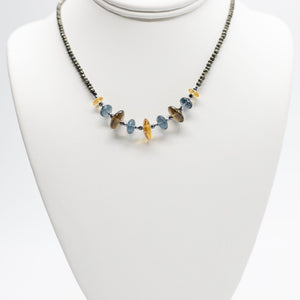 Leilia Blue Quartz & Citrine Necklace