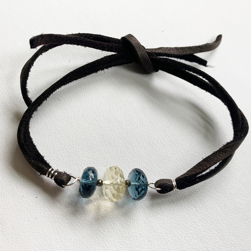 Lemon Quartz and Blue Quartz Suede Bracelet