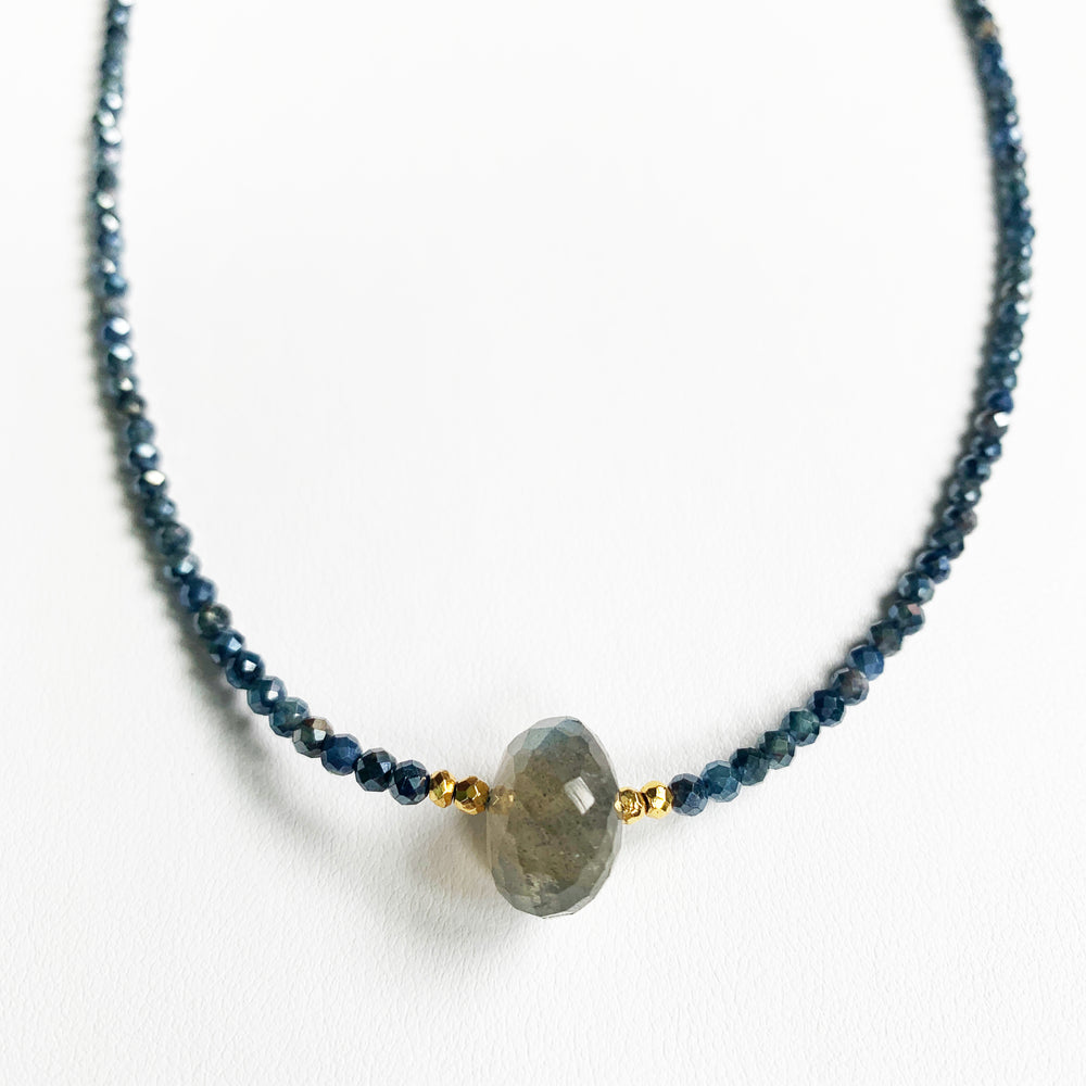 Load image into Gallery viewer, Labradorite and Sapphire Luna Necklace