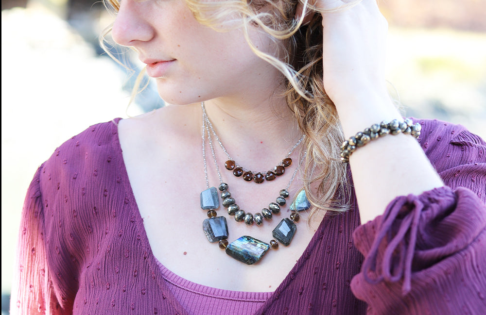Model with Morning Cloak Labradorite & Smoky Quartz Necklace