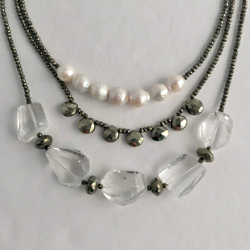 Morning Cloak Necklace Quartz and Pyrite