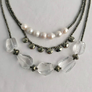Morning Cloak Necklace Quartz & Pyrite