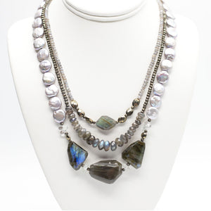 Morning Cloak Labradorite & Freshwater Pearl Necklace