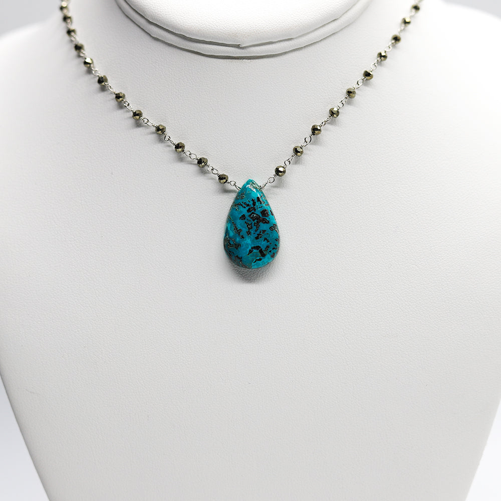 Azurite Pendant Waterfall Necklace