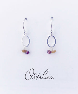 October Silver Birthstone Earrings