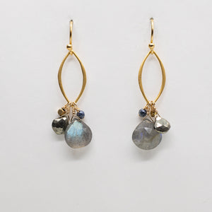 Labradorite Oval Droplet Earrings