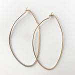 Oval Hand Hammered Hoops Earrings