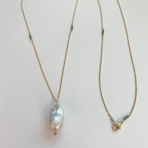 Simple Long Gold Baroque Pearl Necklace