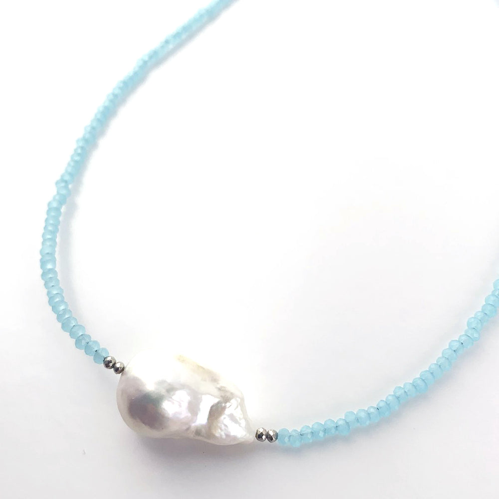Baroque Pearl Necklace with Chalcedony