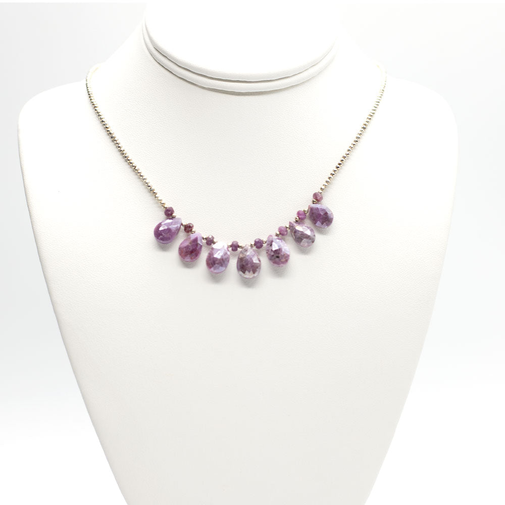 Load image into Gallery viewer, Pink Sapphire Silver Quarter Ruffle Necklace
