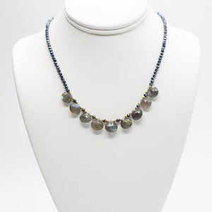 Load image into Gallery viewer, Labradorite and Sapphire Quarter Ruffle Necklace