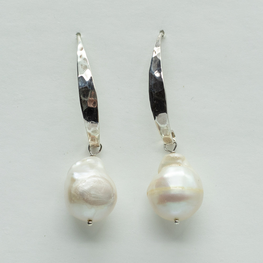 Baroque Silver Pearl Earrings