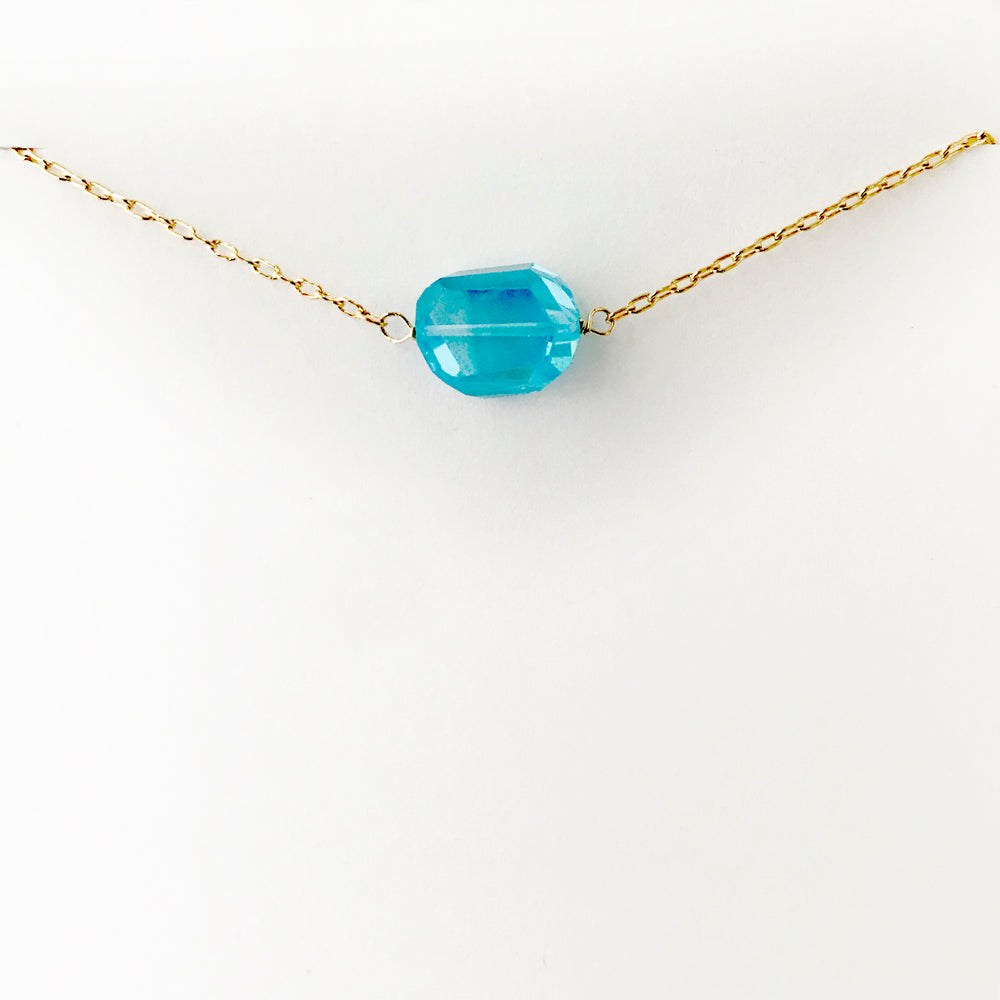 Simple Gold Blue Topaz Necklace