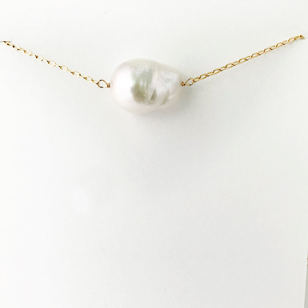 Simple Gold Baroque Pearl Necklace