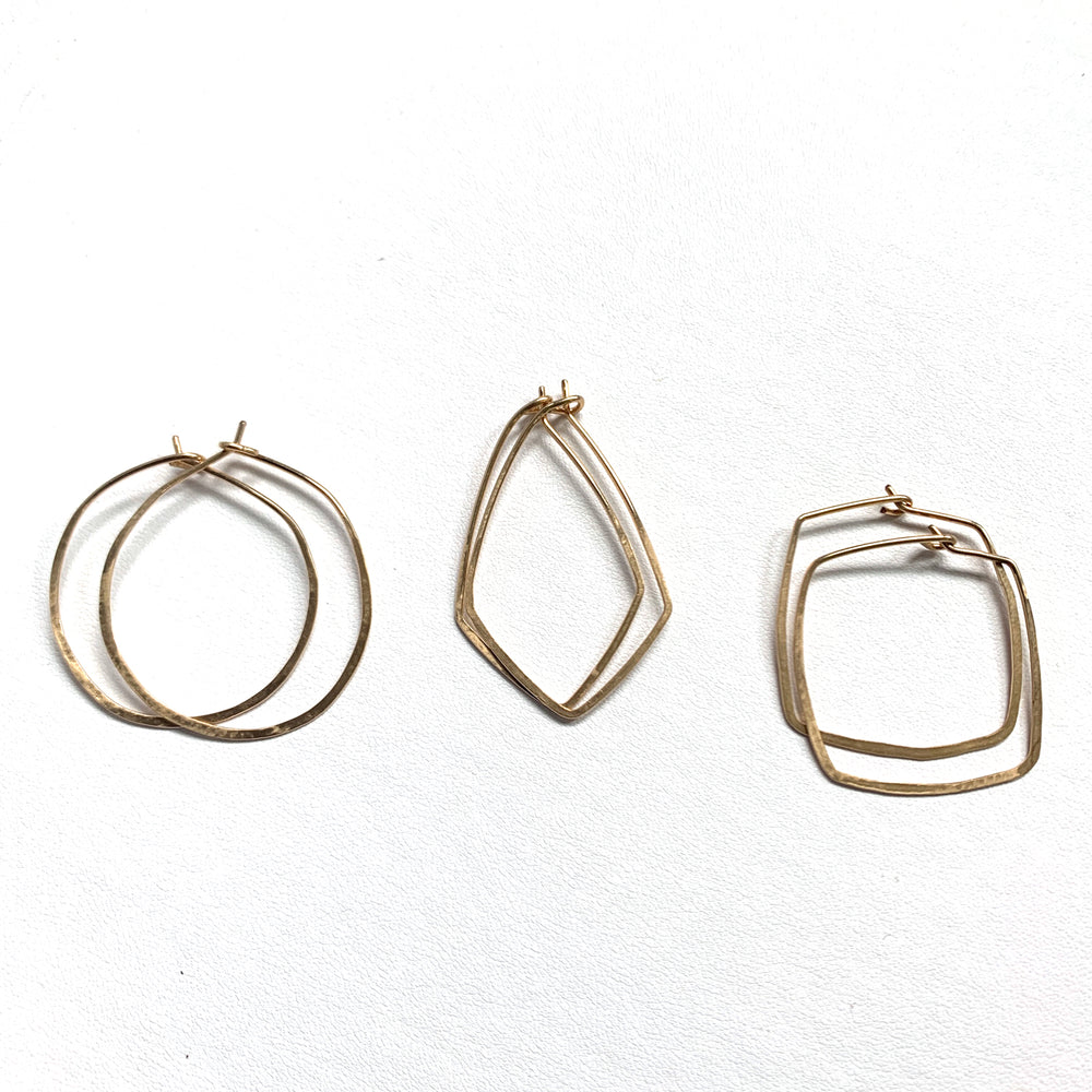 Hoops Square Hand Hammered Earrings