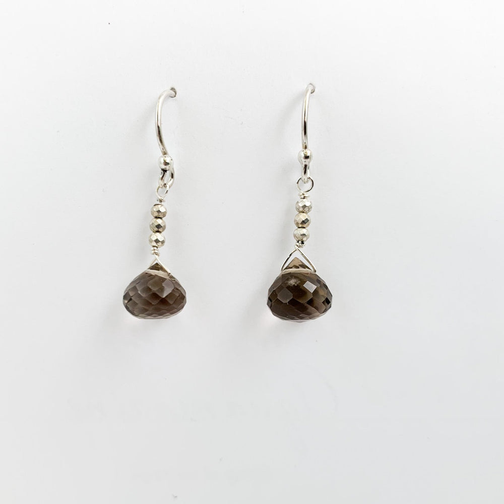 Load image into Gallery viewer, Smoky Quartz Raindrop Earrings