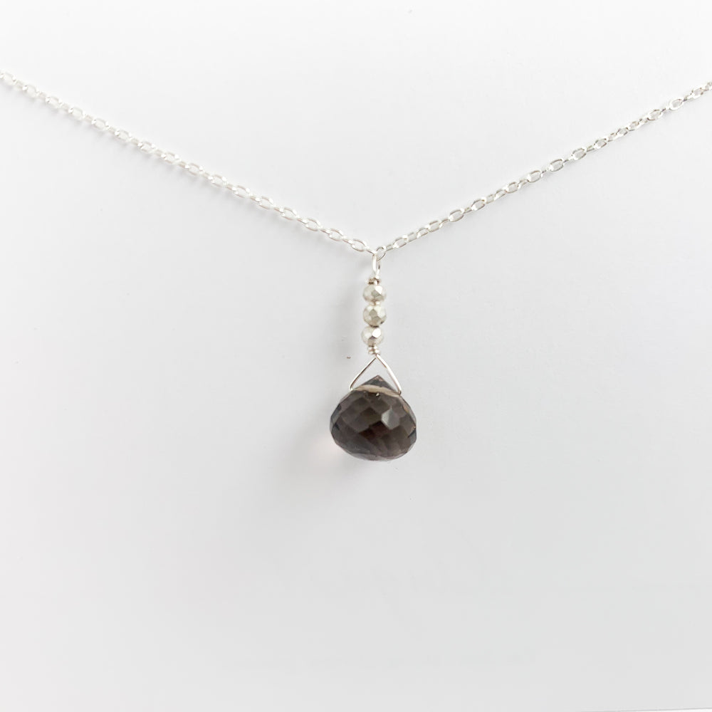 Smoky Quartz Raindrop Necklace