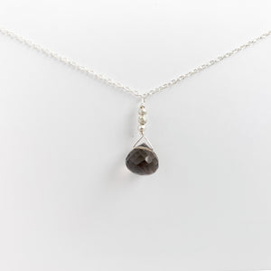 Load image into Gallery viewer, Smoky Quartz Raindrop Necklace